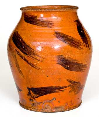 Very Rare Cain Pottery, Sullivan County, Tennessee Redware Jar w/ Manganese Decoration