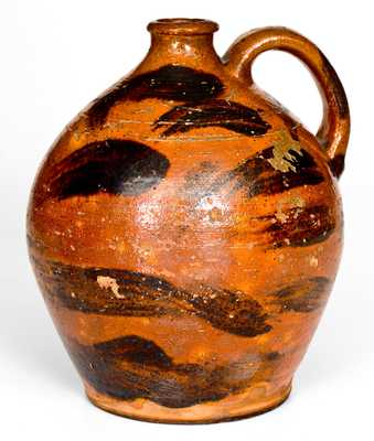 Very Rare Cain Pottery, Sullivan County, TN Redware Jug w/ Manganese Decoration