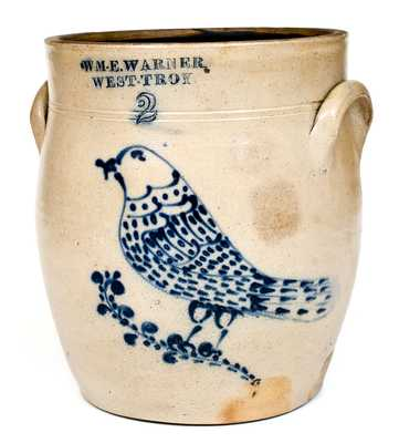 Fine WM. E. WARNER / WEST TROY Stoneware Jar w/ Elaborate Slip-Trailed Bird Decoration