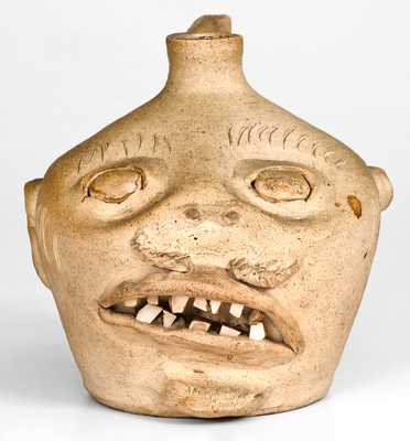 Fine Stoneware Face Jug, probably Guy Daugherty, Bethune, SC