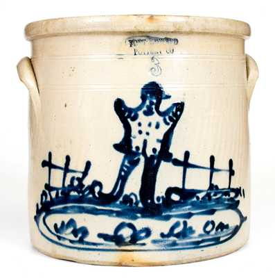 Extremely Rare FORT EDWARD POTTERY CO. Stoneware Crock w/ Elaborate Scarecrow Scene