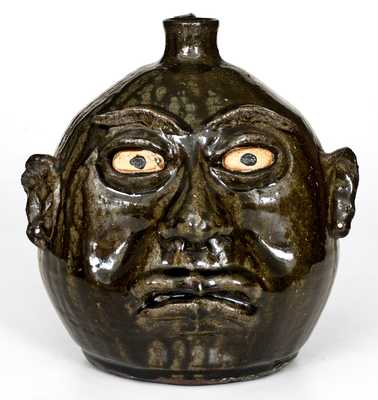 Fine Lanier Meaders (Cleveland, Georgia) Face Jug with Round Head