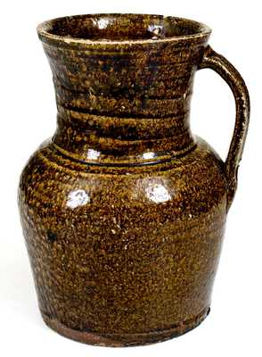 Unusual attrib. W.F. Hahn, Trenton, SC Alkaline-Glazed Spoutless Stoneware Pitcher
