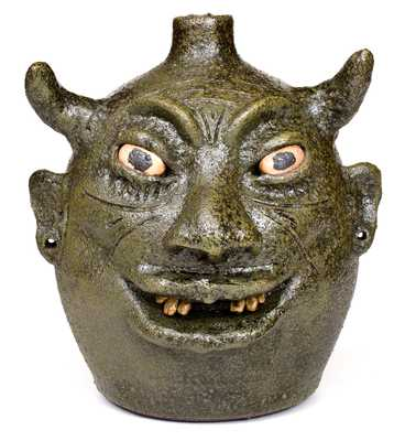 Exceptional Lanier Meaders Stoneware Pottery Devil Jug