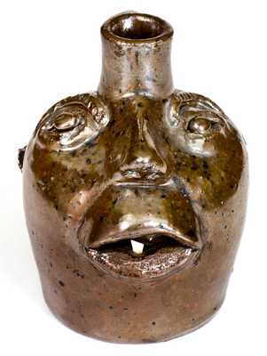 Rare Small-Sized Stoneware Face Jug, attributed to Brown Pottery, Arden, NC, c1930