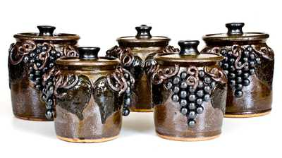 Rare Set of Five Lanier Meaders Stoneware Canisters w/ Applied Grapes, Cleveland, GA