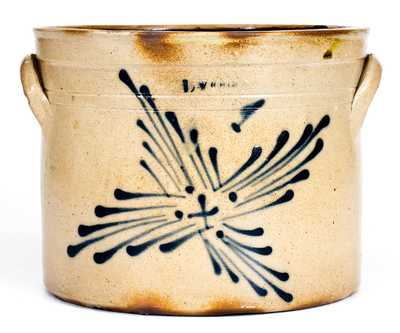 Unusual 1 Gal. LYONS Stoneware Crock with Sunburst Decoration