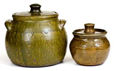 Two Alkaline-Glazed Lanier Meaders Lidded Stoneware Jars