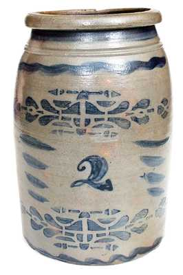 Rare Western PA Stoneware Jar w/ Elaborate Decoration, probably Boughner Family