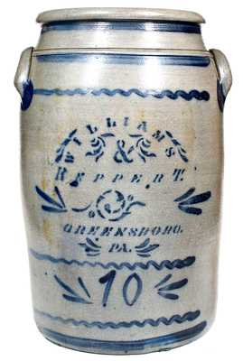 10 Gal. WILLIAMS & REPPERT / GREENSBORO, PA Stoneware Jar