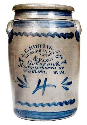 4 Gal. J. E. MORRIS / WHEELING, W. VA Western PA Stoneware Advertising Jar
