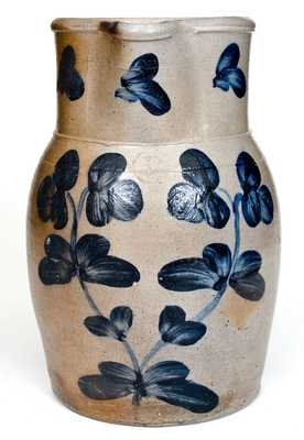 1 Gal. Baltimore Stoneware Pitcher with Floral Decoration, circa 1870