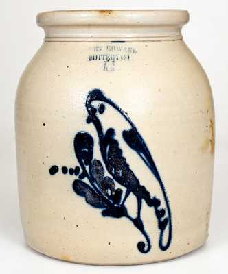 FORT EDWARD POTTERY CO. 1 1/2 Gal. Stoneware Jar with Bird Decoration