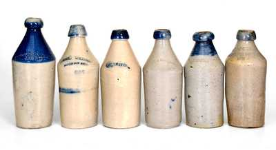 Lot of Six: Fine Stoneware Bottle Collection incl. Cobalt-Highlighted and Dated Examples