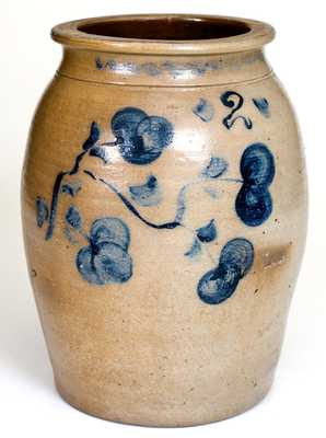 Scarce Pruntytown, WV Stoneware Jar with Floral Decoration