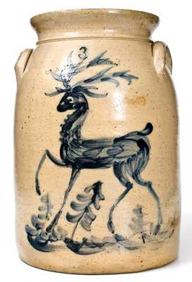 Exceptional W. A. MacQuoid / Manhattan Three-Gallon Stoneware Deer Crock
