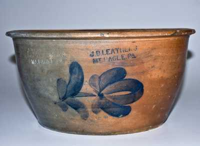 Very Rare J. B. LEATHERS / MT. EAGLE, PA Stoneware Bowl with Floral Decoration