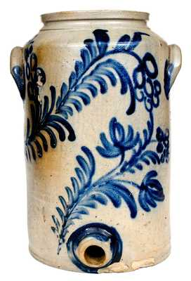 Outstanding Two-Gallon Baltimore Stoneware Water Cooler w/ Elaborate Decoration