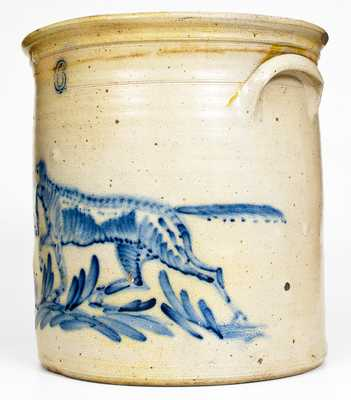 Exceptional 6 Gal. Stoneware Crock w/ Profuse Pointing Dog Decoration