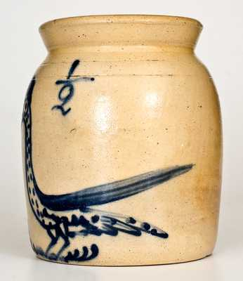 Very Rare Half-Gallon Cortland, NY Stoneware Jar with Cobalt Gooney Bird Decoration