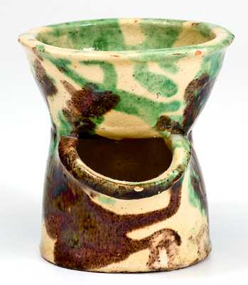 Exceptional Shenandoah Valley Multi-Glazed Redware Shaving Mug, J. Eberly, Strasburg, VA