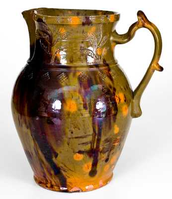 Very Unusual Pennsylvania Redware Pitcher w/ Incised and Impressed Decoration