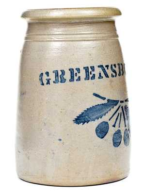 Outstanding Small GREENSBORO Stoneware Canning Jar w/ Cherries Decoration