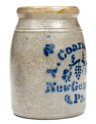 Fine Small A. Conrad & Co. / New Geneva, PA Stoneware Canning Jar w/ Stencilled Grapes