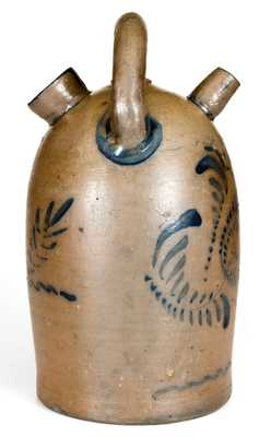 Exceptional Western PA Stoneware Harvest Jug w/ Elaborate Floral Decoration