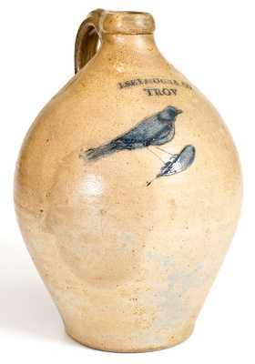 I. SEYMOUR & CO. / TROY Stoneware Jug w/ Incised Bird Decoration