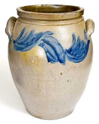 Fine 6 Gal. SOLOMON BELL / Strasburg, Va Stoneware Jar with Cobalt Decoration