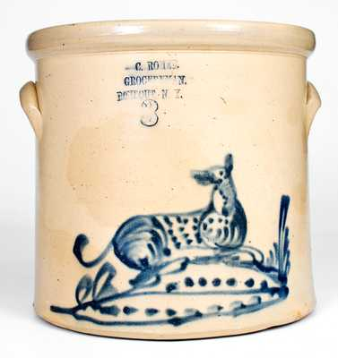 Very Rare Stoneware Crock w/ Dog Decoration at RONDOUT, NY Advertising