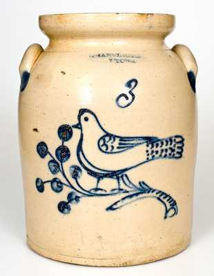 Rare T. HARRINGTON / LYONS 3 Gal. Stoneware Jar with Bird Decoration