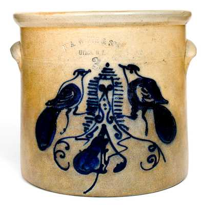 Unusual 3 Gal. N. A. WHITE & SON / UTICA, NY Stoneware Crock w/ Double-Bird Design