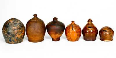 Lot of Six: Redware Banks incl. Glazed Philadelphia and Henry Schofield Examples