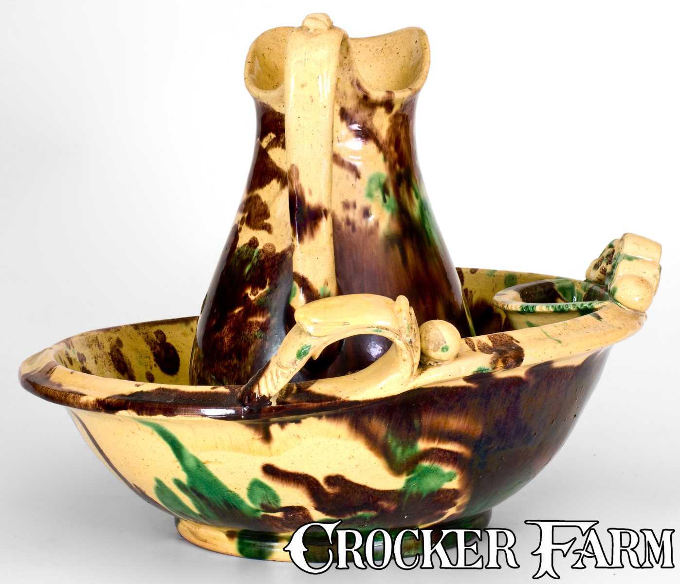 Rare Strasburg Va Multi Glazed Redware Pitcher And Bowl