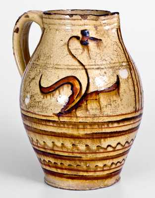 Rare Alamance County, NC Redware Pitcher, late 18th or early 19th century
