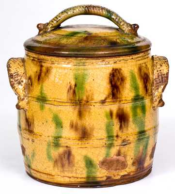 Rare and Fine Eastern PA Lidded Redware Jar w/ Ornamental Handles and Three-Color Glaze