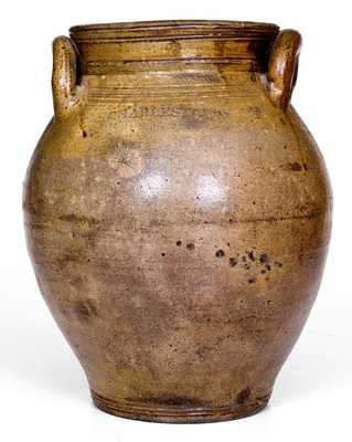 CHARLESTOWN One-Gallon Stoneware Jar w/ Dipped Iron Decoration, early 19th century