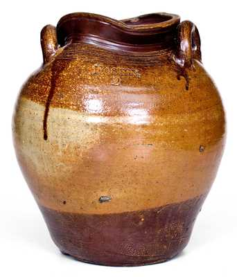 Rare 2 Gal. BOSTON Stoneware Jar with Iron-Oxide Slip Decoration