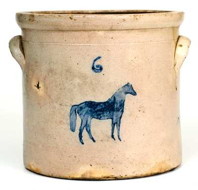 Attrib. Somerset Potters Works, Somerset, MA Stoneware Crock w/ Stenciled Horse