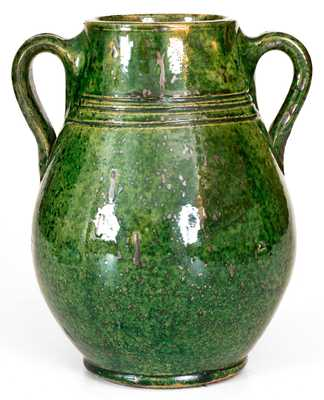 Redware Vase with Vibrant Green Glaze, American or Canadian