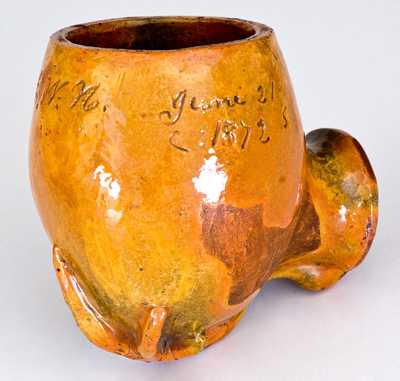 Rare Large-Sized Pennsylvania Redware Pipe Bowl, Dated June 21, 1872