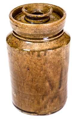 Rare Small-Sized Alkaline-Glazed Stoneware Churn with Lid, SC origin, circa 1880