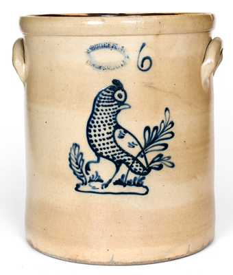 Fine J. BURGER, JR. / ROCHESTER. N.Y. Six-Gallon Stoneware Crock w/ Game Bird Decoration