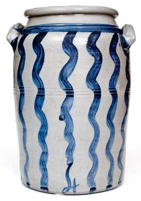 Outstanding 4 Gal. Greensboro, PA Stoneware Jar w/ Bold Vertical Striped Decoration