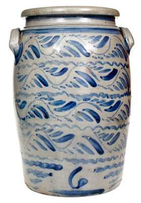 Outstanding Six-Gallon Shinnston, WV Stoneware Jar w/ Profuse Decoration