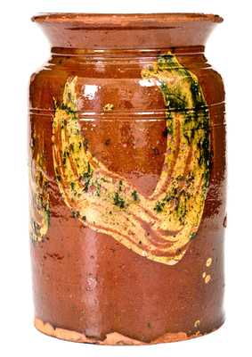 Exceptional Redware Jar w/ Copper Slip Decoration, att. Nathaniel Seymour, West Hartford, CT