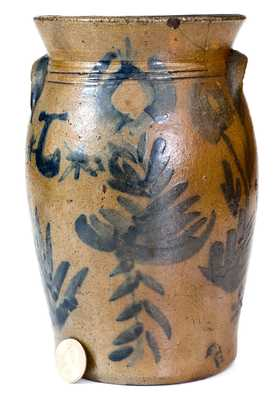Extremely Rare Miniature Jane Lew, West Virginia, Stoneware Churn w/ Elaborate Decoration