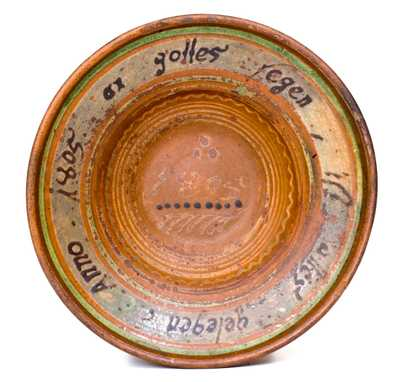 Rare 1805 Redware Bowl with German Inscription, possibly Singer Pottery, Haycock Twp, PA